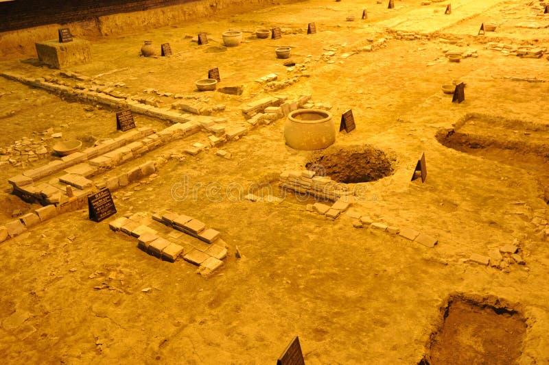 Site d'archéologie de dynastie de patte à Chengdu photo stock