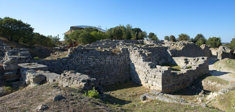 Site d'archéologie de Troy en Turquie, ruines antiques images libres de droits