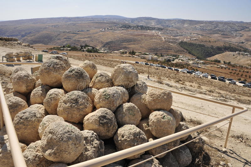 Site de Herodium dans le désert de Judea. images libres de droits