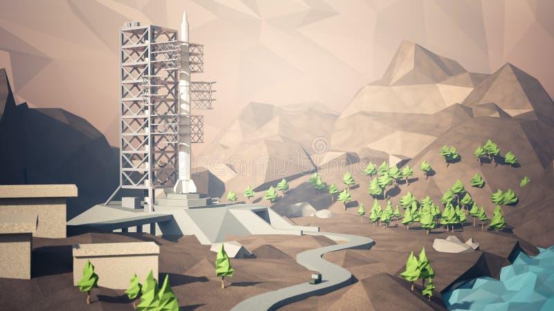Site de lancement de Rocket illustration libre de droits