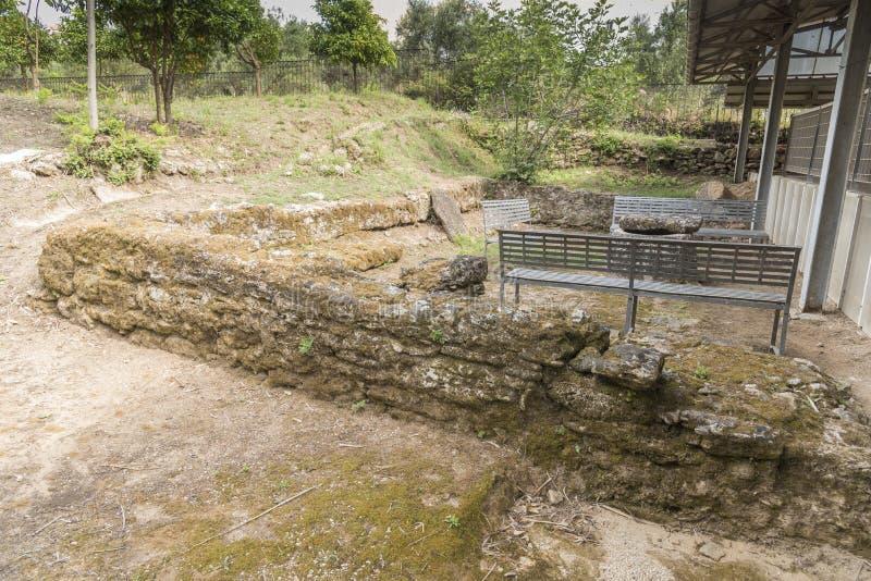 Site de Roman Villa dans la petite ville de Skala images stock