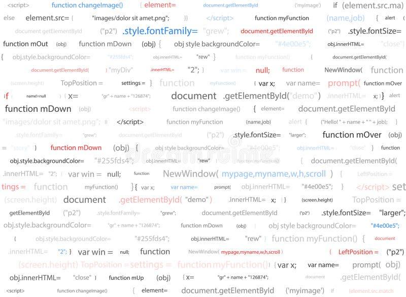 Software web design white background. Site developer javascript programming code. Abstract computer webpage script. Site developer javascript programming code royalty free illustration