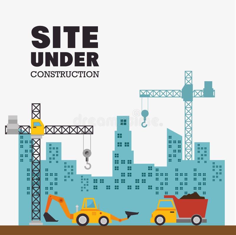 site en construction avec le bâtiment et les machines illustration libre de droits