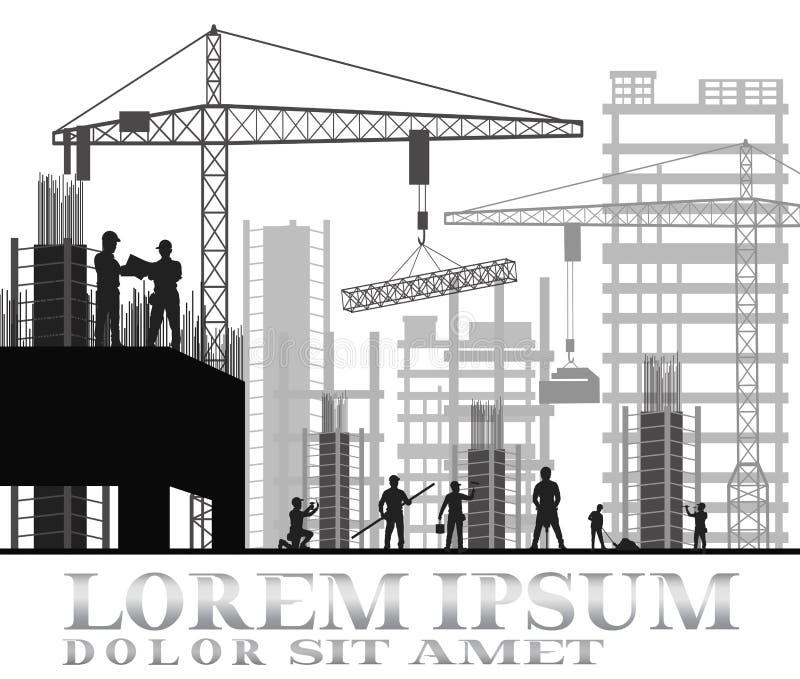 Site en construction de construction illustration libre de droits