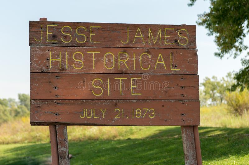 The site of the first Jesse James and gang train robbery stock images
