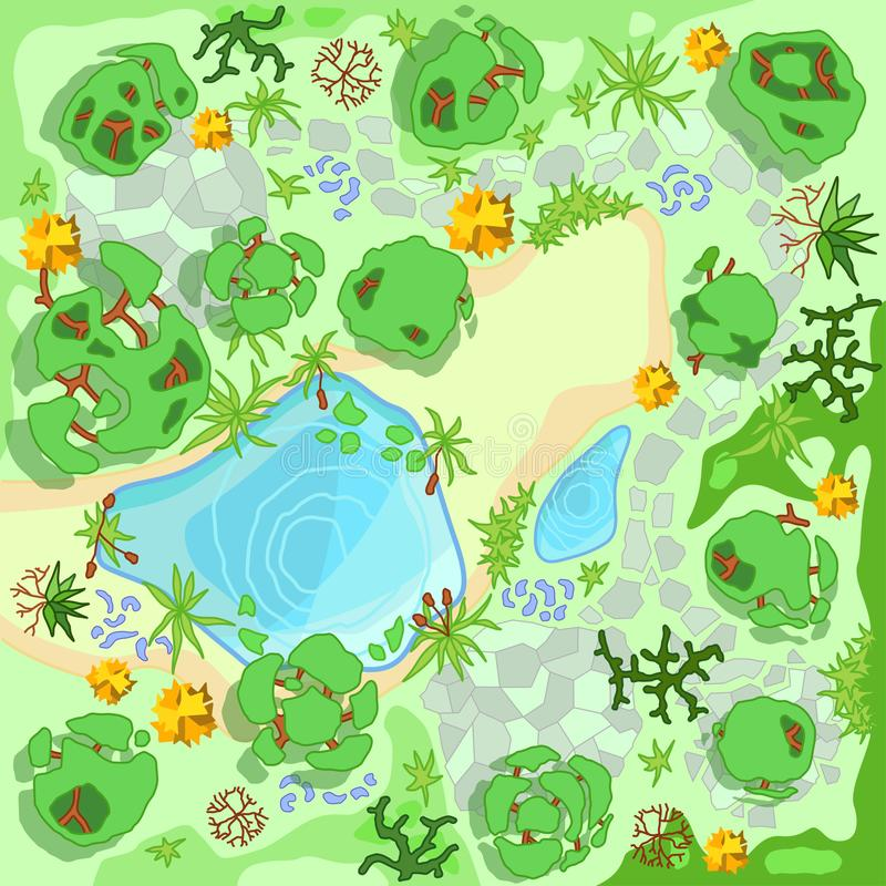 Site improvement  Landscape and tourist camp in the forest. Top view Pond, stones, trees, plants,  lake, beach. View from above. Terrain design. Vector royalty free illustration