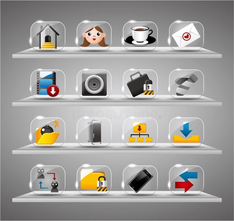Site-Internet-Ikonen, transparente Glastaste lizenzfreie abbildung