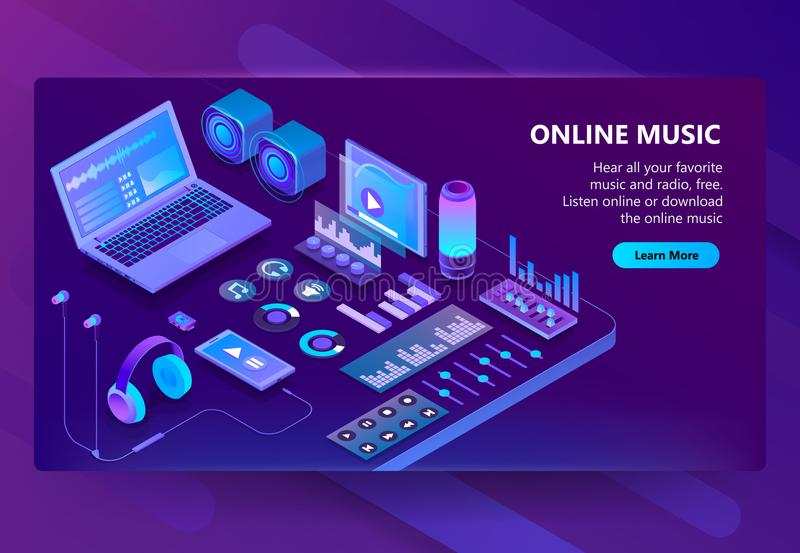 Site isométrique du vecteur 3d de la musique de écoute illustration libre de droits