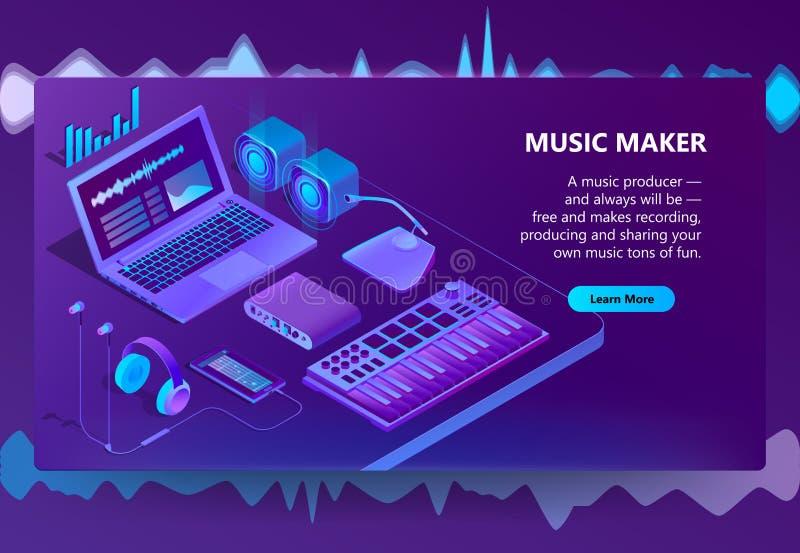 Site isométrique du vecteur 3d pour la fabrication de musique illustration stock