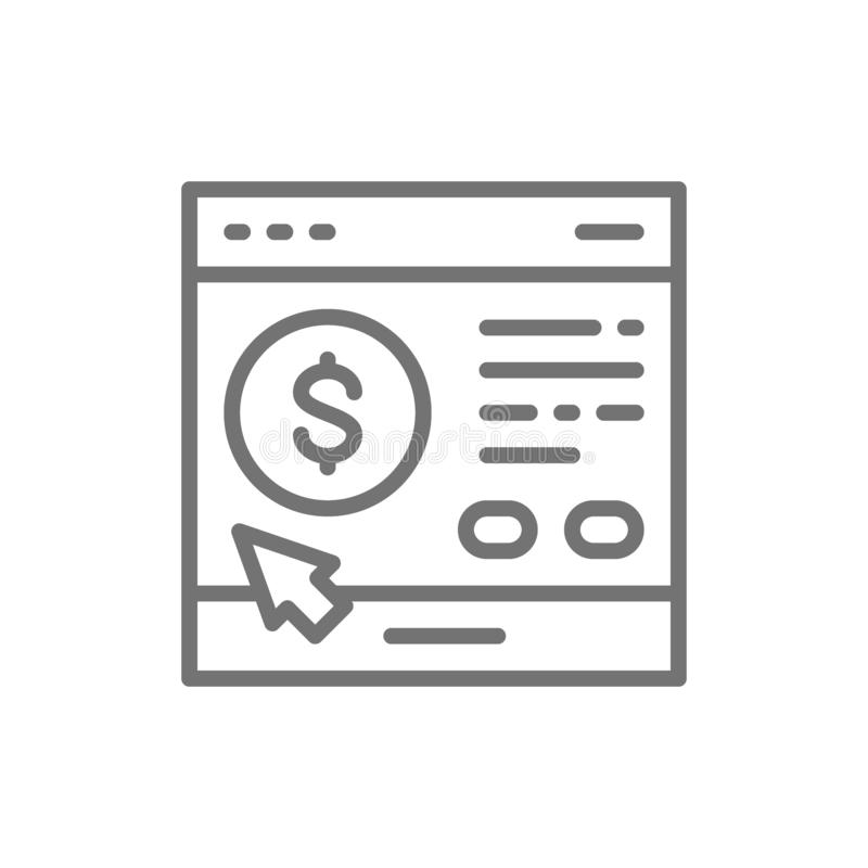 Site loan application line icon. Isolated on white background vector illustration