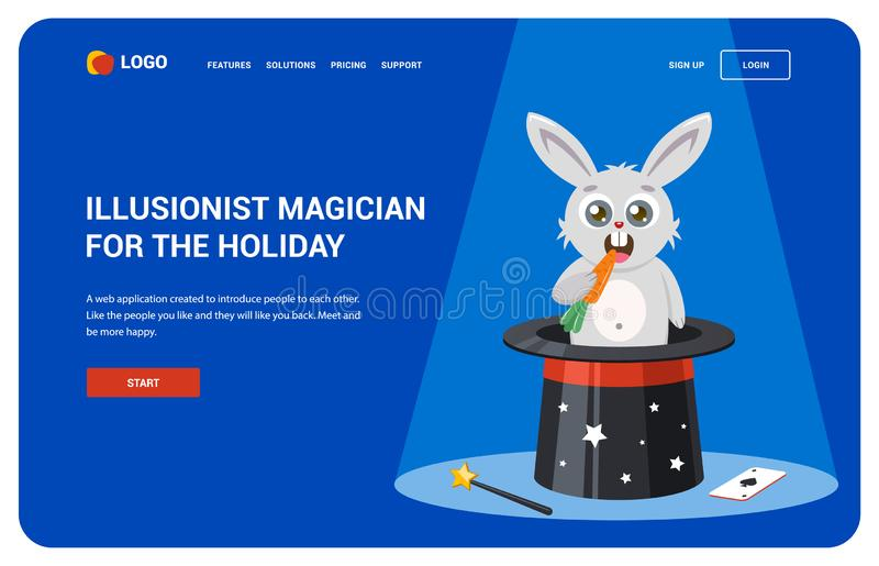 Site for magicians. hat tutorial landing page. stock illustration