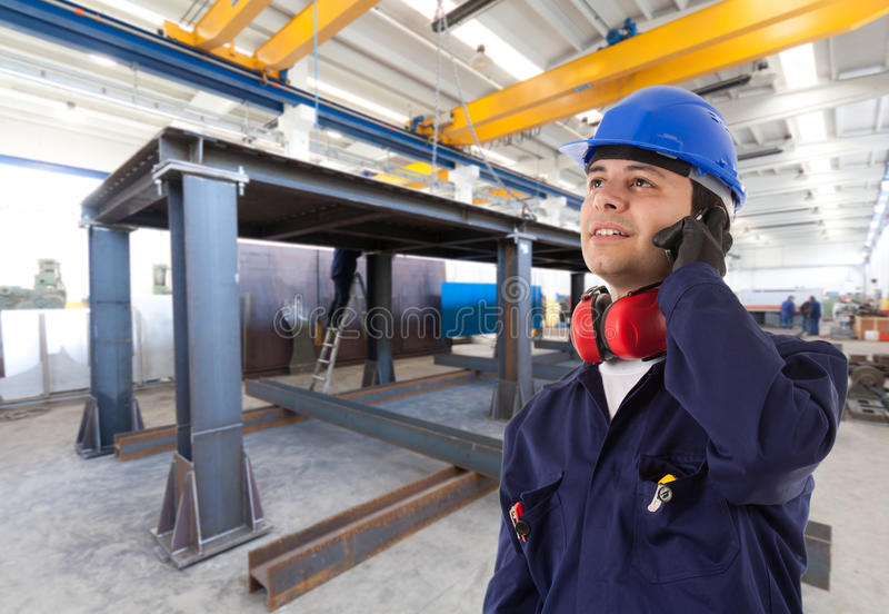 Site manager. In an industrial facility stock image