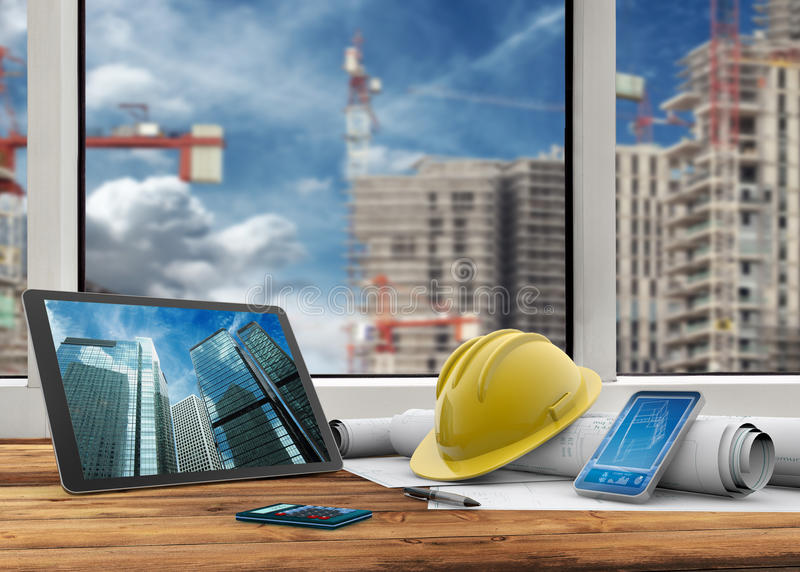 Site manager's office. Tablet, smartphone, safety helmet and blueprints in construction site royalty free illustration