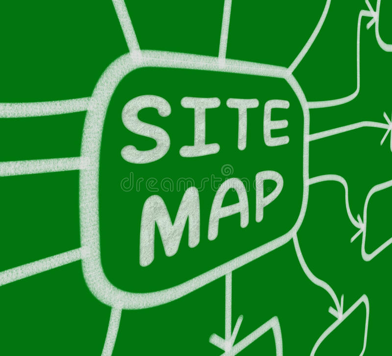 Site Map Diagram Means Layout Of Website Pages stock illustration