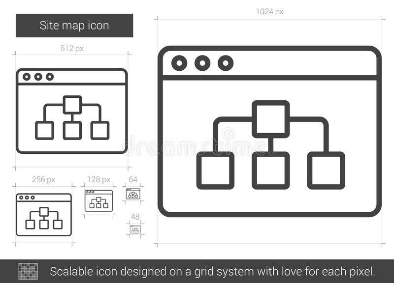 Site map line icon. Site map vector line icon isolated on white background. Site map line icon for infographic, website or app. Scalable icon designed on a grid royalty free illustration