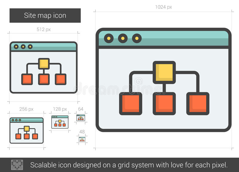 Site map line icon. Site map vector line icon on white background. Site map line icon for infographic, website or app. Scalable icon designed on a grid system vector illustration