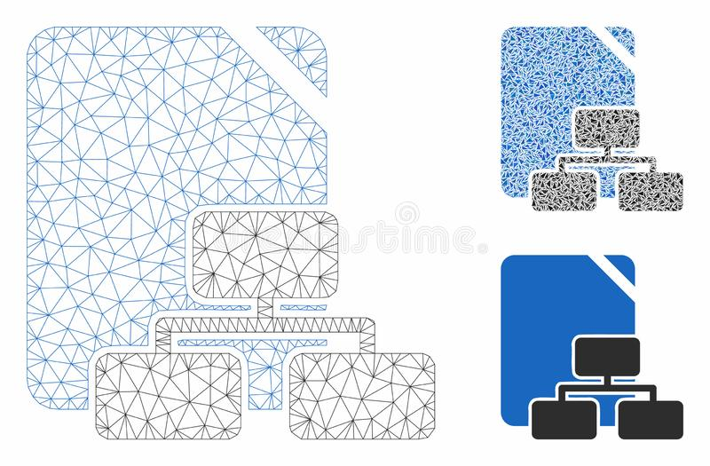 Site Map Vector Mesh 2D Model and Triangle Mosaic Icon. Mesh site map model with triangle mosaic icon. Wire frame triangular mesh of site map. Vector mosaic of royalty free illustration
