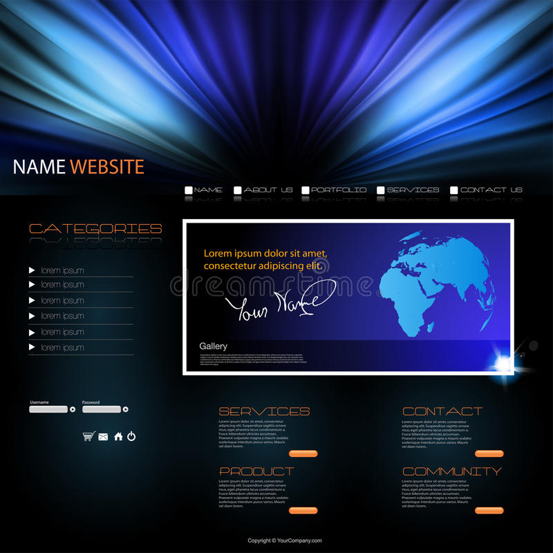 Site-moderne Schablone lizenzfreie abbildung
