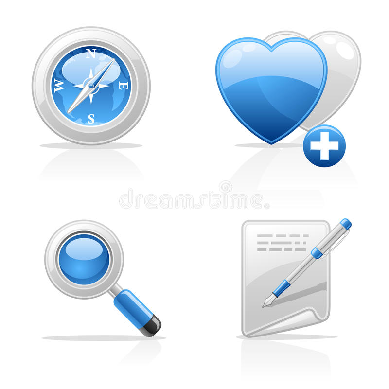 Site navigation icons. Site navigation vector icons on white background stock illustration