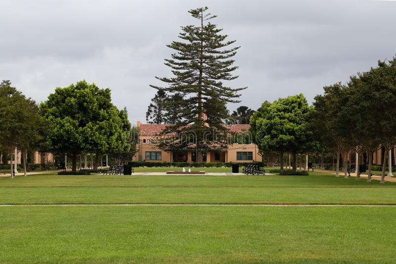Site of Old Naval Training Center in Point Loma California. Grassy and tree lined area of the old Naval Training Center in Point Loma, San Diego, California, USA royalty free stock image