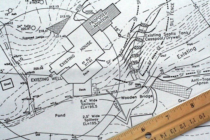 Site Plan. This is a close up of a residential site plan with a ruler royalty free stock photography