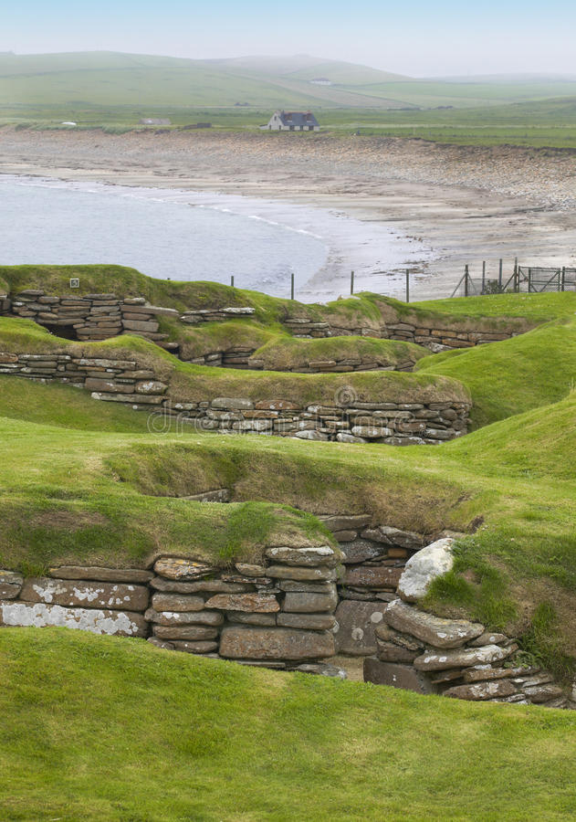 Site préhistorique écossais dans les Orcades Brae de Skara l'ecosse images stock
