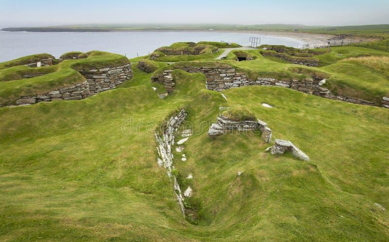 Site préhistorique écossais dans les Orcades Brae de Skara l'ecosse image libre de droits