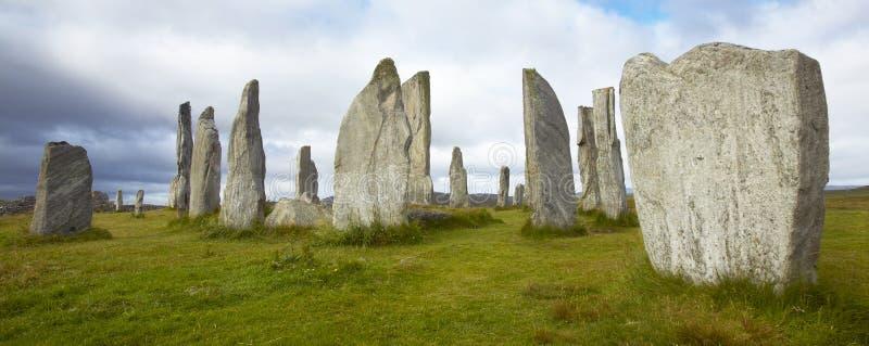 Site préhistorique avec des menhirs en Ecosse Callanish Île de Lewis image stock