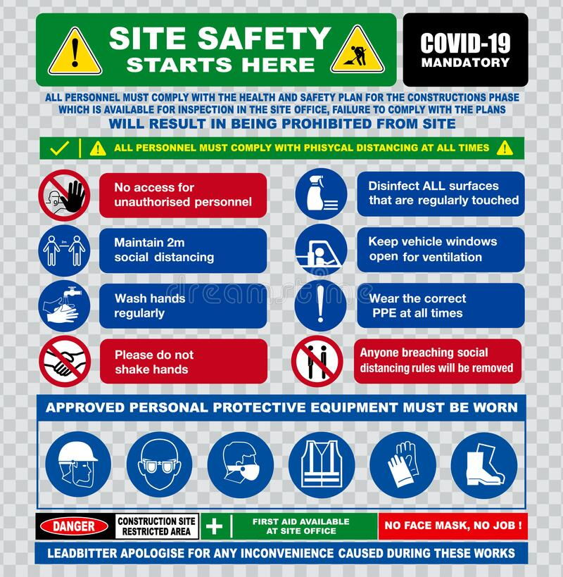 Free Site Safety Starts Here Or Site Safety Sign Or Health And Safety Protocols On Construction Site Or Best Practices New Normal L Royalty Free Stock Image - 194695406