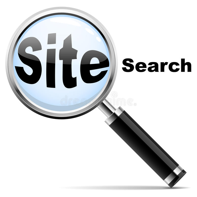 "Site search. Web site search icon. Magnifying glass over ""site search"" text stock illustration"