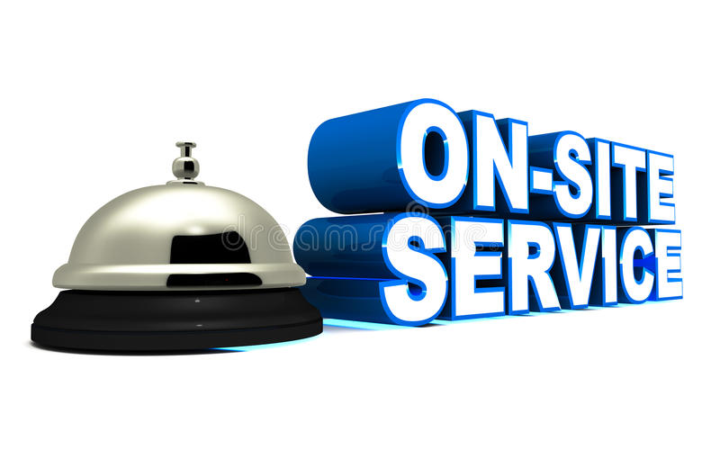 On site service. Words on site service next to a metal service bell on white background, concept of easy customer site service for products that are not easy to royalty free illustration