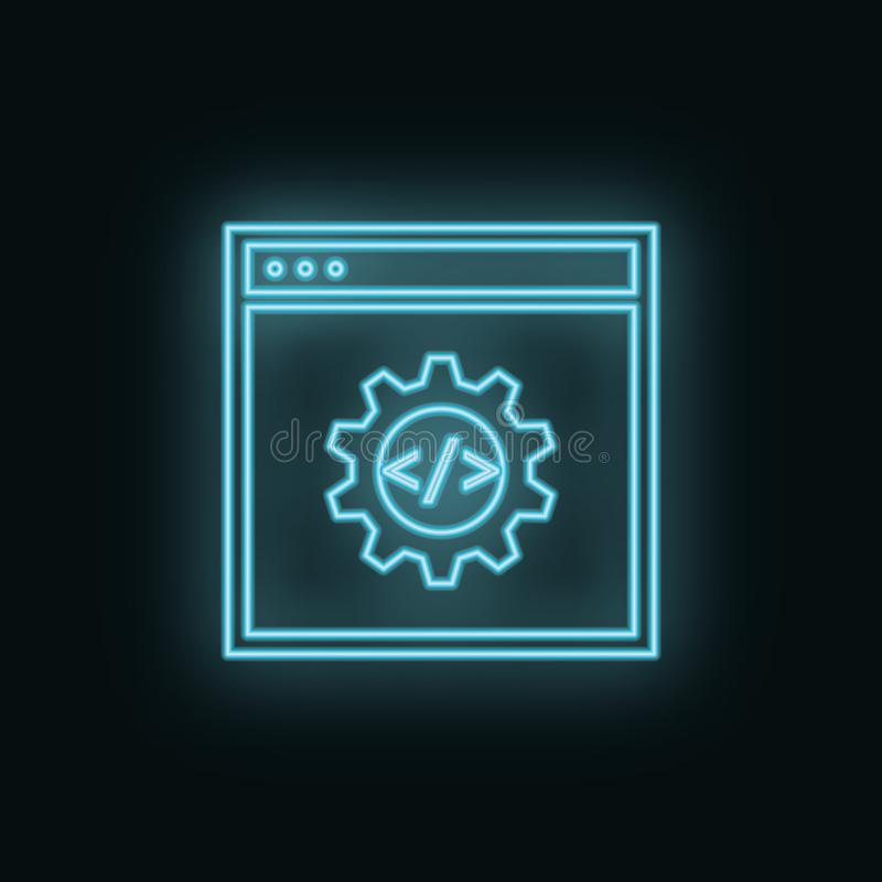 Site, setting, neon, icon. Web Development Vector Icon. Element of simple symbol for websites, web design, mobile app, royalty free illustration