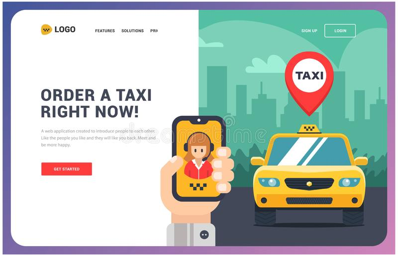 Site for a taxi. Vector illustration. Of car and hand with phone. application on the phone. for internet stock illustration