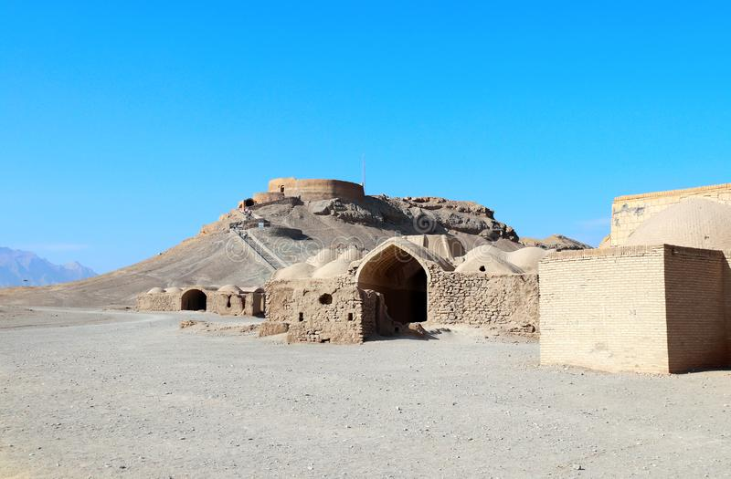The site of Towers of Silence Dakhma, Yazd, Iran stock image