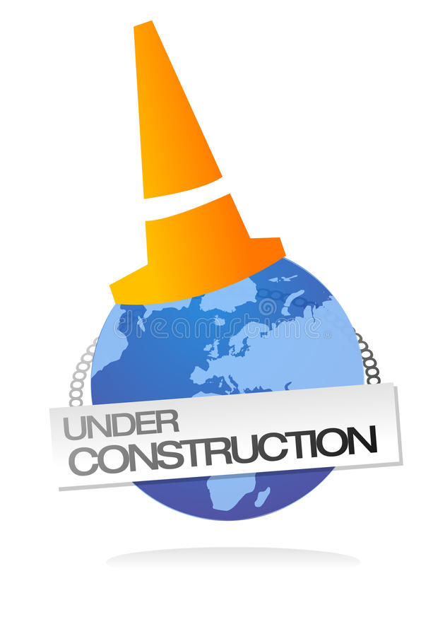 Site under construction clip art. Vector illustration of earth globe with road orange cone upon and sign with under construction text, related to web site royalty free illustration