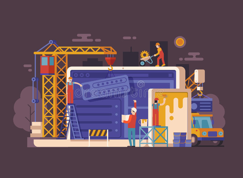 Site Under Construction Concept. Website under construction concept background in flat design. Maintenance page or 404 error vector illustration with house stock illustration