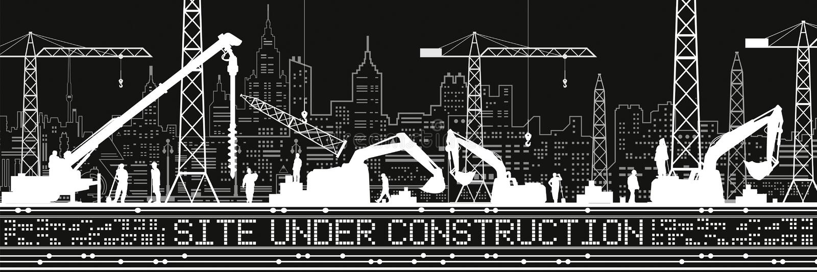 Site Under Construction illustration. Buildings panorama, industrial landscape, Constructional cranes and excavators, urban scene. vector illustration