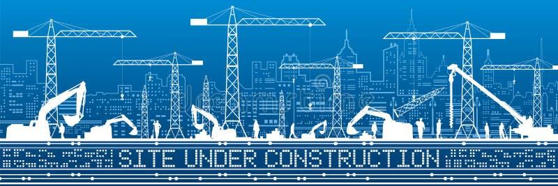 Site Under Construction illustration. Buildings panorama, industrial landscape, Constructional cranes and excavators, urban scene. Vector lines design art stock illustration