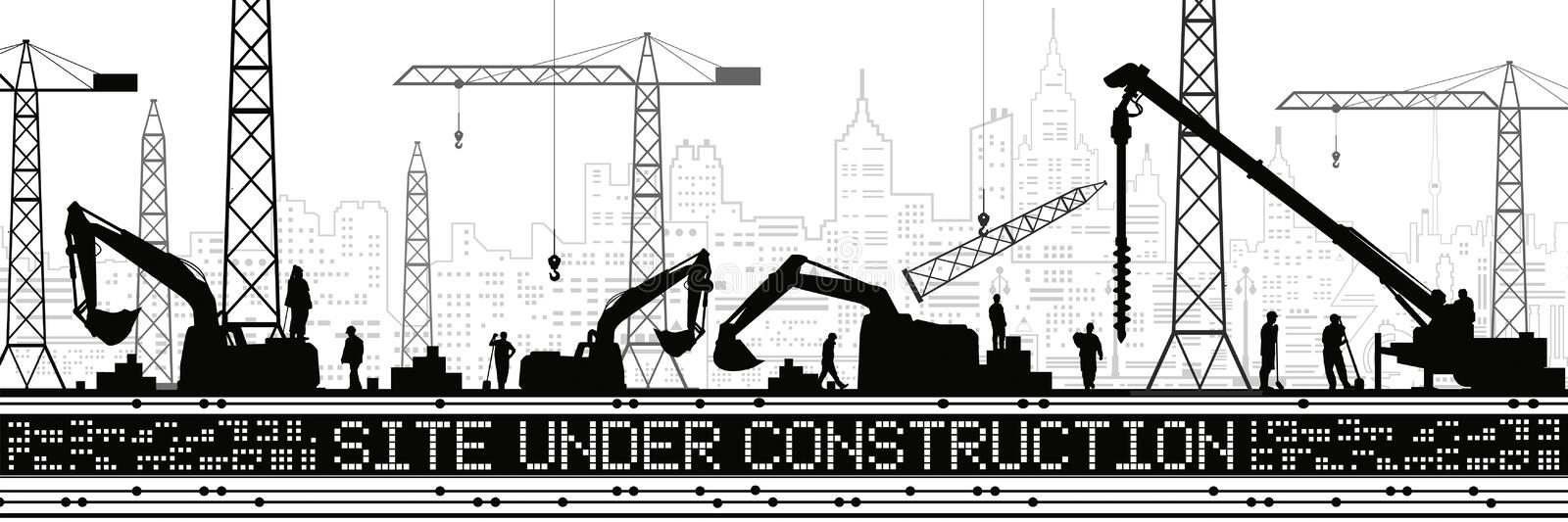 Site Under Construction illustration. Buildings panorama, industrial landscape, Constructional cranes and excavators, urban scene. People working. Vector lines royalty free illustration