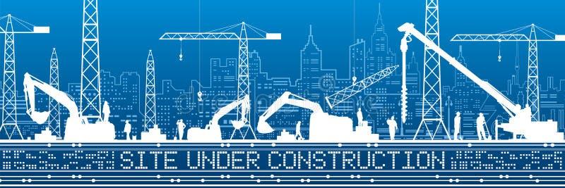 Site Under Construction illustration. Buildings panorama, industrial landscape, Constructional cranes and excavators, urban scene. Vector lines design art royalty free illustration