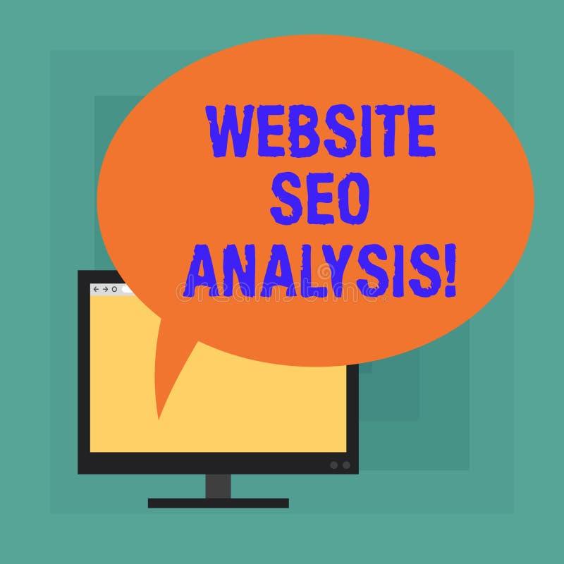 Site Web conceptuel Seo Analysis d'apparence d'écriture de main Processus des textes de photo d'affaires d'apporter des modificat illustration stock