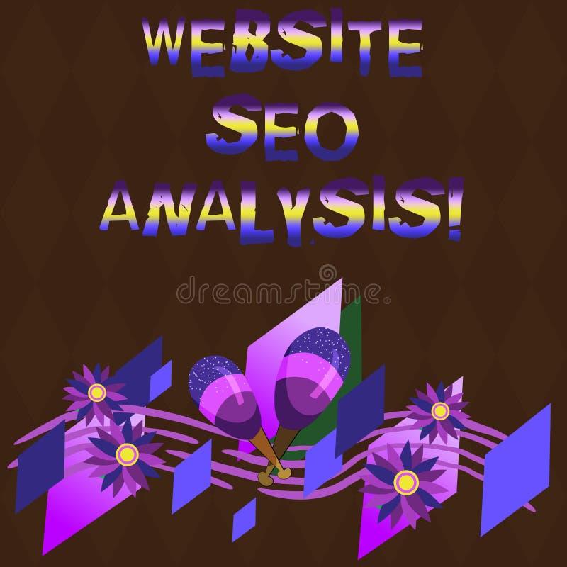 Site Web conceptuel Seo Analysis d'apparence d'écriture de main Processus de présentation de photo d'affaires d'apporter des modi illustration stock