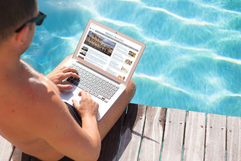 Site Web d'actualités de lecture Le contenu tout se compose photos stock