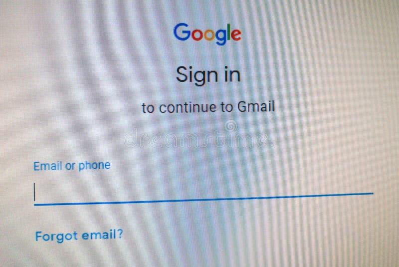 Site Web de connexion de Google Continuez à Gmail avec le téléphone ou l'username, mot de passe photo libre de droits