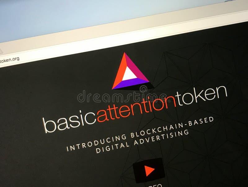 Site Web de marque d'attention de base de pièce de monnaie de cryptocurrency - BATTE photos stock