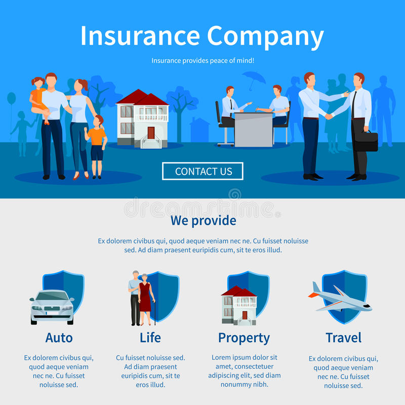 Site Web de page de la compagnie d'assurance une illustration stock