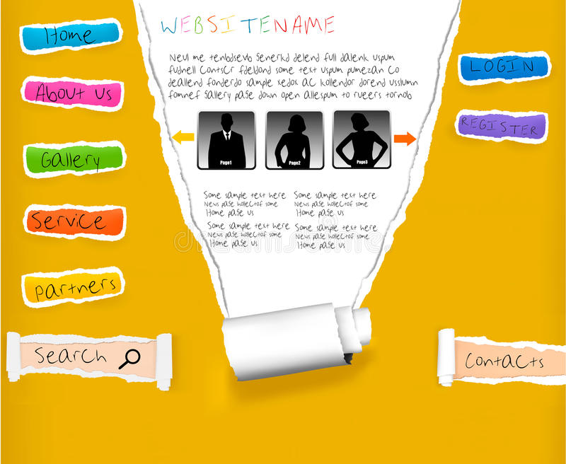Site Web des papiers déchirés colorés. illustration stock