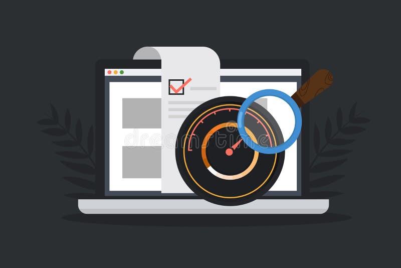 Site Web examinant, optimisation de site Web Logiciel examinant le concept plat de vecteur illustration libre de droits