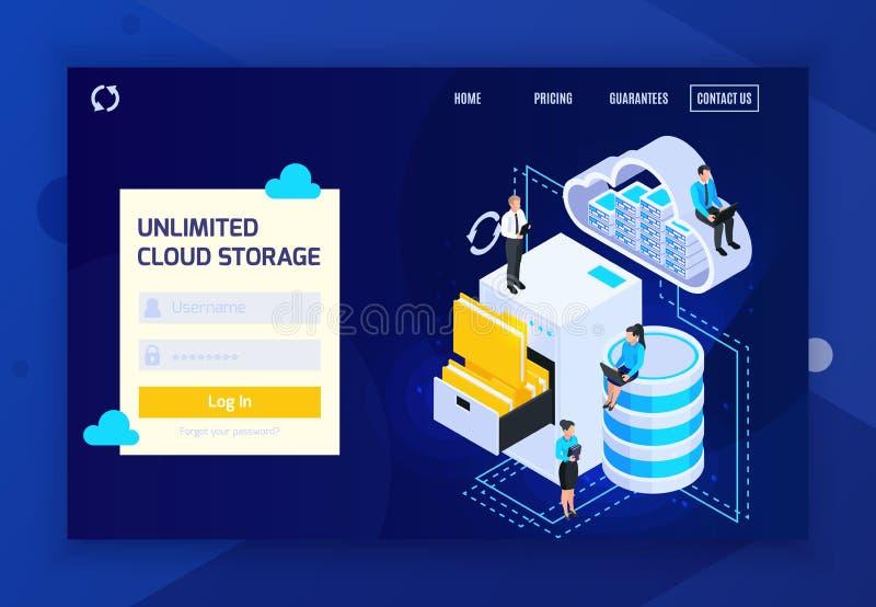 Site Web illimité de stockage de nuage illustration stock