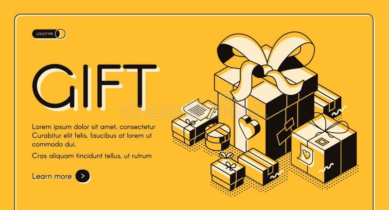 Site Web isométrique de vecteur de service d'emballage cadeau illustration libre de droits